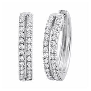 Jewelry - New Silver 2-Row Diamond Round Hoop Earrings